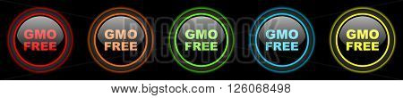 gmo free colored web icons set on black background