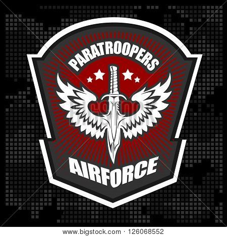 Paratroopers - Special unit military emblem vector design template