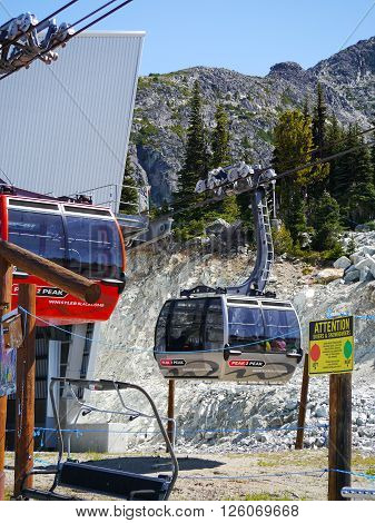 WHISTLER, BC, CANADA - August 19, 2015 : The Peak to Peak Gondola on Blackcomb Mountain. Whistler, BC, Canada, August 19, 2015