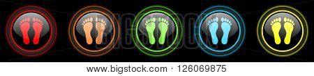 foot colored web icons set on black background