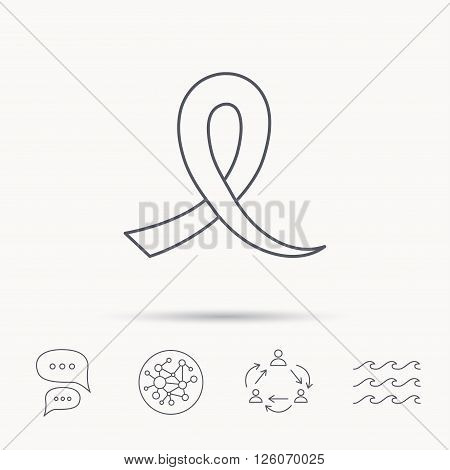 Awareness ribbon icon. Oncology sign. Global connect network, ocean wave and chat dialog icons. Teamwork symbol.