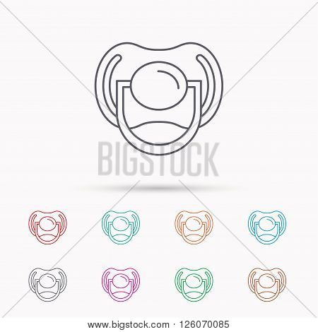 Pacifier icon. Nipple or dummy sign. Newborn child relax equipment symbol. Linear icons on white background.