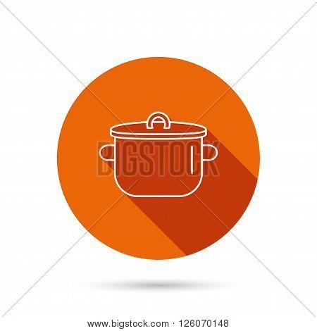 Pan icon. Cooking pot sign. Kitchen tool symbol. Round orange web button with shadow.