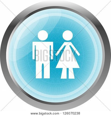 Icon Toilet Button, Man And Woman, Isolated On White