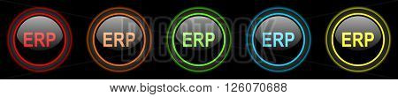 erp colored web icons set on black background
