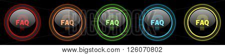 faq colored web icons set on black background