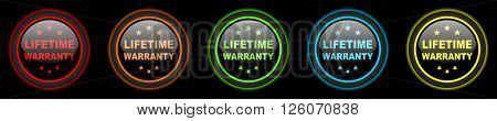 lifetime warranty colored web icons set on black background
