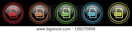 doc file colored web icons set on black background