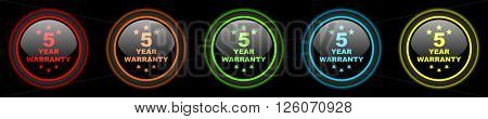 warranty guarantee 5 year colored web icons set on black background