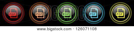 pdf file colored web icons set on black background