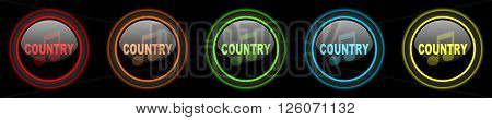 music country colored web icons set on black background