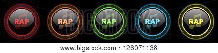 rap music colored web icons set on black background