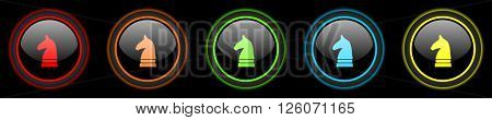 chess horse colored web icons set on black background