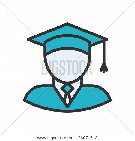 Graduate fully scalable vector icon in outline style.