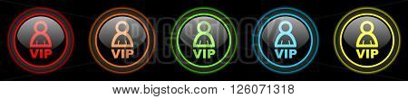 vip colored web icons set on black background