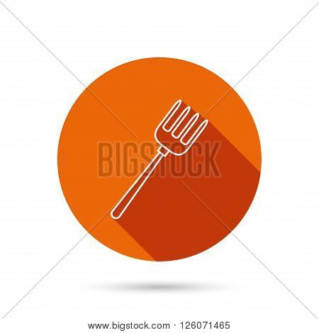 Pitchfork icon. Agriculture sign symbol. Round orange web button with shadow.