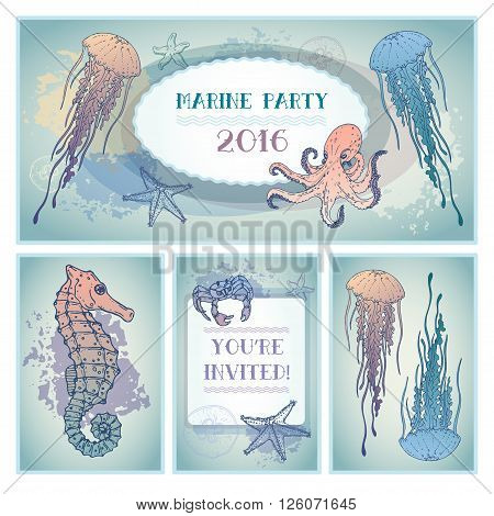 Set of invitation card. Marine style in pastel colors. Hand drawn. Vector
