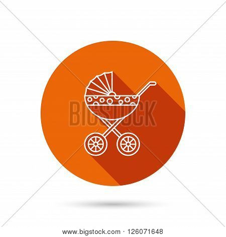 Pram icon. Newborn stroller sign. Child buggy transportation symbol. Round orange web button with shadow.