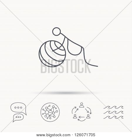 Gymnastic for pregnant icon. Pilates fitness sign. Sport workout symbol. Global connect network, ocean wave and chat dialog icons. Teamwork symbol.