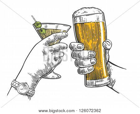 Two hands clink a glass of beer and a glass of cocktails. Hand drawn design element. Vintage vector engraving illustration for web poster invitation to party. Isolated on white background.