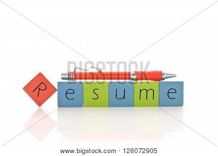 Putting Together Your Resume cubes concept isolated in white background