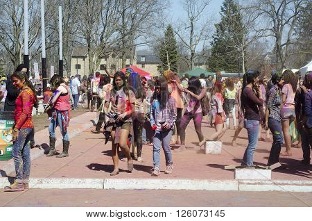 London Ontario, Canada - April 16:  Unidentified Young Colorful People Having Fun And Celebreting At