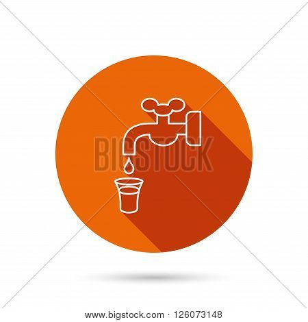 Save water icon. Crane or Faucet with drop sign. Round orange web button with shadow.