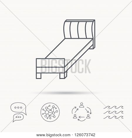 Single bed icon. Bedroom furniture sign. Global connect network, ocean wave and chat dialog icons. Teamwork symbol.