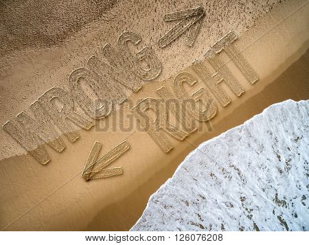 Right - Wrong written on the beach