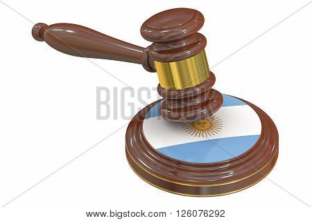 Wooden Gavel with Flag of Argentina 3D rendering