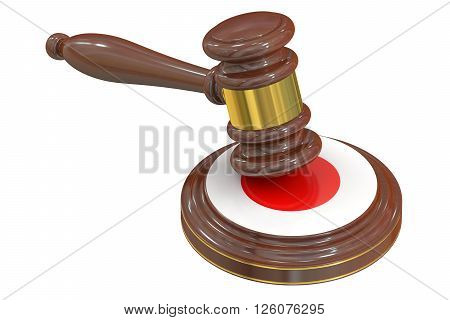 Wooden Gavel with Flag of Japan 3D rendering