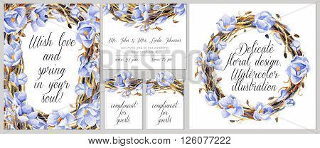 Invitation card tags round frame. Watercolor blue flowers and intertwining branches.