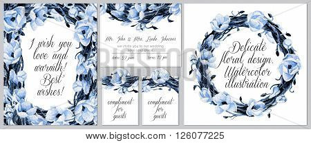 Set of templates for celebration, wedding. Invitation card tags round frame. Watercolor blue flowers and intertwining branches.
