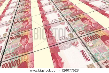 Indonesian rupiah bills stacks background. 3D illustration.