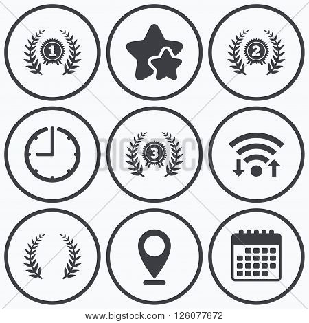 Clock, wifi and stars icons. Laurel wreath award icons. Prize for winner signs. First, second and third place medals symbols. Calendar symbol.