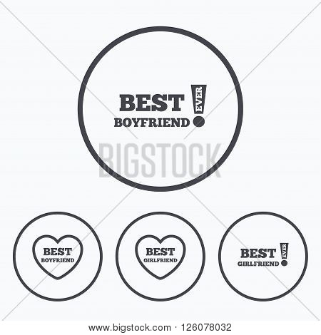 Best boyfriend and girlfriend icons. Heart love signs. Awards with exclamation symbol. Icons in circles.