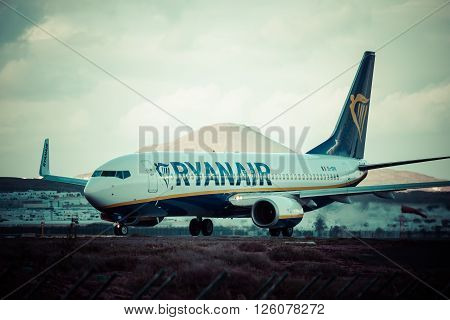 ArrecifeSpain -22 March 2015: Airliner of Ryanair is the largest low-cost carrier in Europe