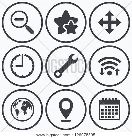 Clock, wifi and stars icons. Magnifier glass and globe search icons. Fullscreen arrows and wrench key repair sign symbols. Calendar symbol.