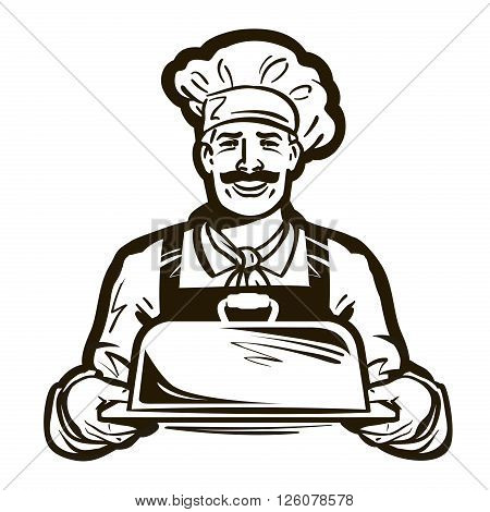 chef with a tray in his hands. vector illustration