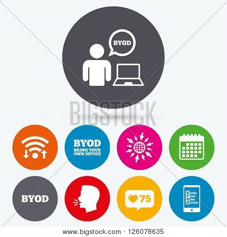 Wifi, like counter and calendar icons. BYOD icons. Human with notebook and smartphone signs. Speech bubble symbol. Human talk, go to web.