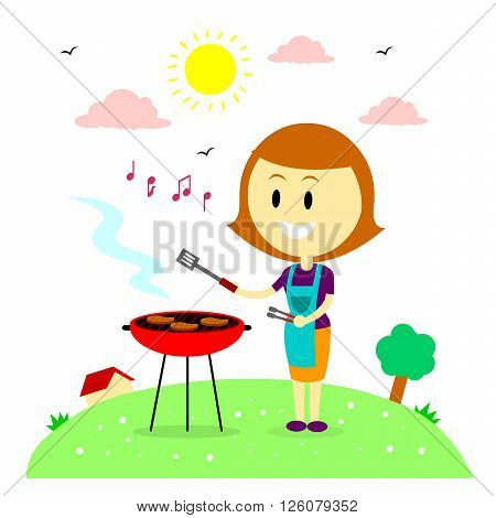 A Happy Woman/Mom  Humming while Barbecuing Steaks in the Backyard House (in Flat Cartoon Style)