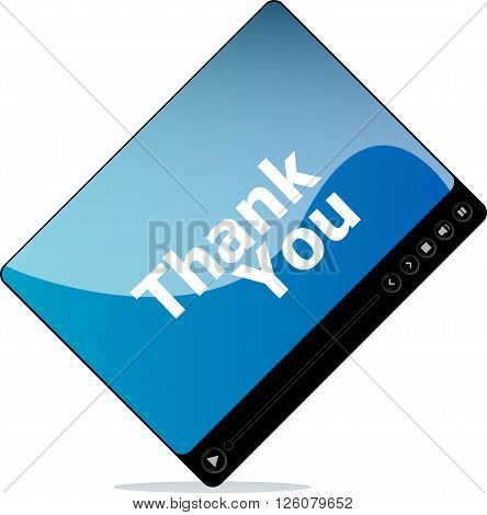 thank you on media player interface isolated on white