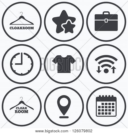 Clock, wifi and stars icons. Cloakroom icons. Hanger wardrobe signs. T-shirt clothes and baggage symbols. Calendar symbol.