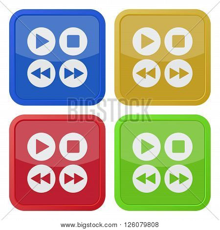 set of four colored square icons with music control buttons