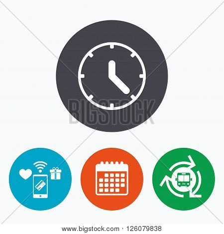 Clock sign icon. Mechanical clock symbol. Mobile payments, calendar and wifi icons. Bus shuttle.