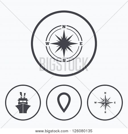 Windrose navigation compass icons. Shipping delivery sign. Location map pointer symbol. Icons in circles.