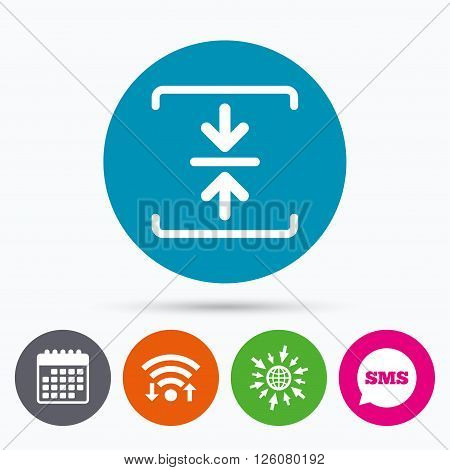 Wifi, Sms and calendar icons. Archive file sign icon. Compressed zipped file symbol. Arrows. Go to web globe.