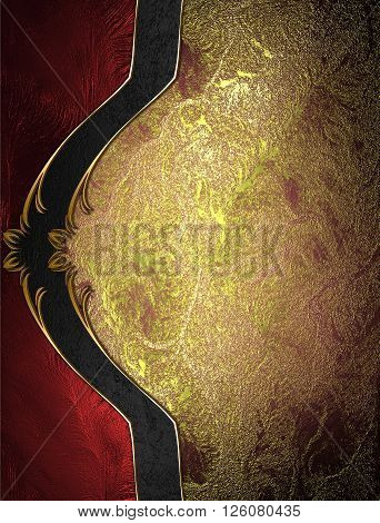 Red Gold Background With Elegant Beautiful Decoration. Template For Design. Copy Space For Ad Brochu