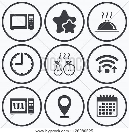 Clock, wifi and stars icons. Microwave grill oven icons. Cooking apple and pear signs. Food platter serving symbol. Calendar symbol.