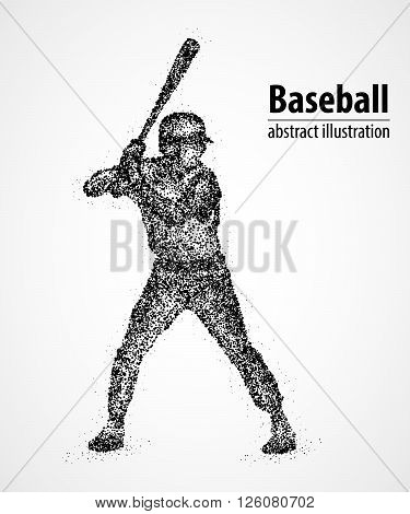 Abstract baseball player with a bat in black circles. Vector illustration.